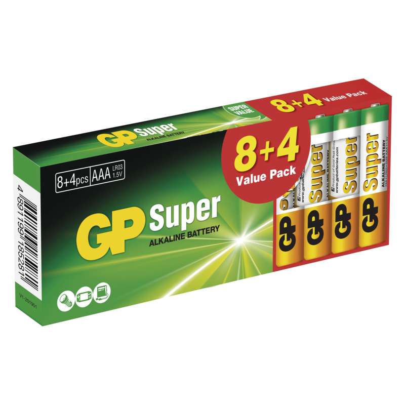 Alkalická baterie GP Super LR03 (AAA) 12KS